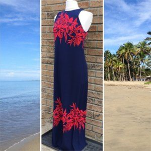 Tommy Bahama S Navy Blue Floral Maxi Dress Pisa